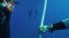 Scuba diver waiting on decoline, mediterranean sea Stock Footage