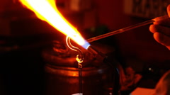 Glass sculptor at work Stock Footage