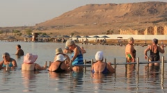 Bathing in Dead Sea Stock Footage