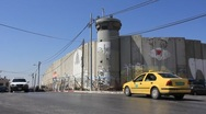 Security wall in Bethlehem, Israel Stock Footage