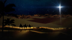 Three Wisemen Follow Star Stock Footage