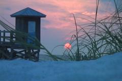 Sunset lifeguard med 5 Stock Footage