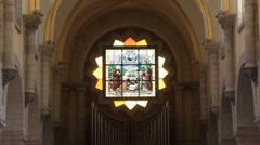 Stained-glass window. Church of the Nativity in Bethlehem, Israel Stock Footage