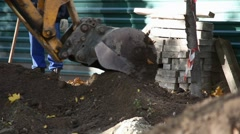 Excavations in town park Stock Footage