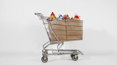 Shopping cart with brown paper bags - stock footage