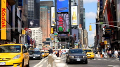 Times square new york america urban tourist transport cars Stock Footage