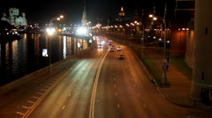 Moscow night road near Kremlin Stock Footage