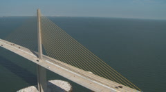 Aerial Sunshine Skyway Close North Stock Footage