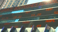 Cropped tilted Stock ticker sign NYC Stock Footage