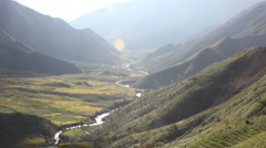 Mountain Vista and River Valley in the Sapa Landscape North Vietnam Highlands - stock footage