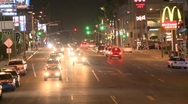 Stock Video Footage of Sunset Blvd at Night