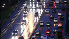 Freeway cars at night - stock footage