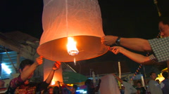 People Release Thai Floating Lantern Ceremony Ritual celebration fly Stock Footage