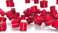 Stock Video Footage of Christmas gifts or presents fall. Comes with Alpha