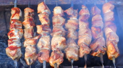 HD Kebab roasted in the grill Stock Footage