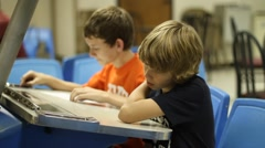 Kids at bowling desk Stock Footage