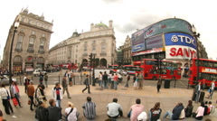 Eros fisheye london picadilly circus city urban tourist transport Stock Footage