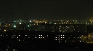 HD Time lapse of the night town in Russian province Stock Footage