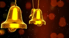 Three Golden Bells Slinged Stock Footage