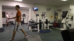 weight room work out - stock footage