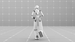Stock Video Footage of White futuristic robot jogging indoor - Back view -Laboratory