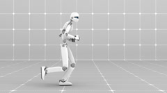 Stock Video Footage of White futuristic robot jogging indoor- Side view -Laboratory