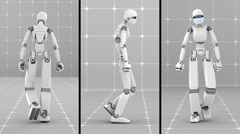 Stock Video Footage of White futuristic robot walking indoor- Back-Side-Front view -Laboratory