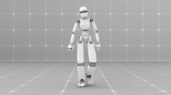 Stock Video Footage of White futuristic robot walking indoor- Front view -Laboratory