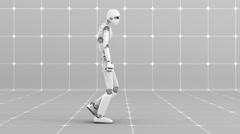 Stock Video Footage of White futuristic robot walking indoor- Side view -Laboratory