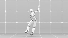 Crazy dance of white futuristic robot - Part 3 of 3 Stock Footage