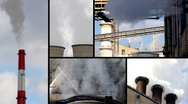 Industrial smoke and steam multiscreen Stock Footage