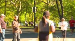 Sports and fitness, bike, run, ride in Central Park, New York City, medium shot Stock Footage