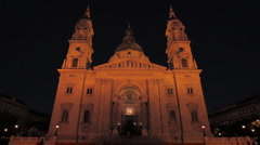 St.Stephen Basilica Budapest at Night 01 Stock Footage