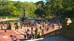 Bethesda fountain, Central Park, New York City Stock Footage