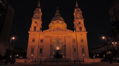 St.Stephen Basilica Budapest at Night 02 Stock Footage