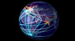 Networking Earth with alpha matte Stock Footage