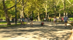 Sports and fitness, bike, run, ride in Central Park, New York City Stock Footage