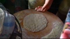 Baking Druze Mediterranean Pita bread NP Stock Footage