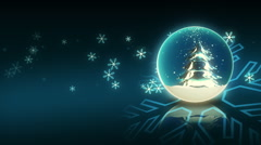 One Turning Blue Christmas Ball and Snowflake Stock Footage