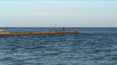 Man on a pier Stock Footage