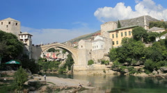 Tourists Enjoying Historic Old Town of Mostar, Bosnia Stock Footage