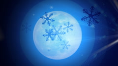 Moon and Snowflakes  Stock Footage