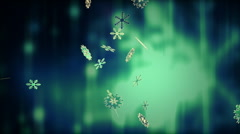 Snowflakes in Green Tone Stock Footage