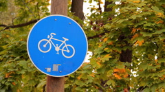 Bike Sign and Road 2in1 02 Stock Footage