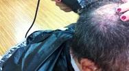 Stock Video Footage of Baldspot Haircut