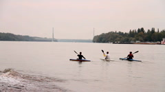 Kayakers At Fall 04 Stock Footage