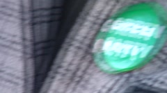 Green party campaign button Stock Footage