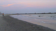 Evening walk on the bank of the Black sea Stock Footage