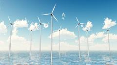 Wind Turbines on the Sea - stock footage