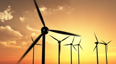Wind Turbines in Sunset Stock Footage